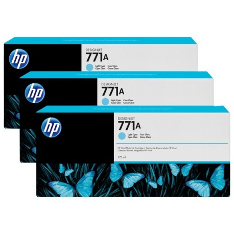HP 771A 3-pack 775-ml Light Cyan