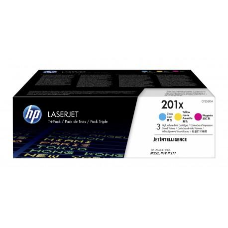 HP 201X 3-pack High Yield Cyan Magenta Yellow Original LaserJet Toner Cartridges